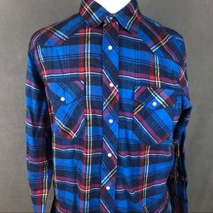 Wrangler pearl snap flannel western shirt large